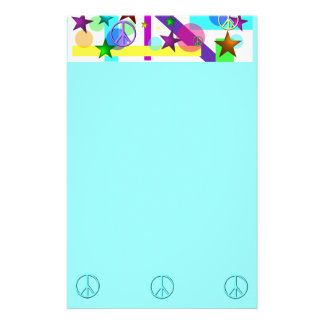 Bright Retro Style w/Peace Signs, Circles & Stars Stationery