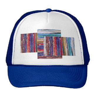 Bright ribbons, colorful stripes mesh hats