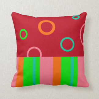 Bright Rings and Stripes American MoJo Pillow Throw Cushion
