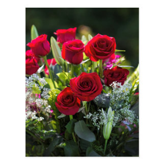 Bright Romantic Red Rose Bouquet Postcard