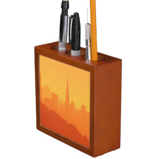 Bright San Francisco sunset. Desk Organiser