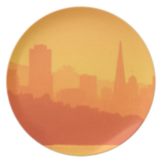 Bright San Francisco sunset. Plate