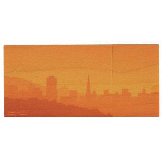 Bright San Francisco sunset. Wood USB 2.0 Flash Drive