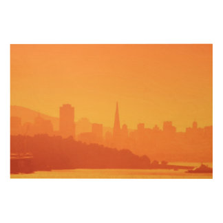 Bright San Francisco sunset. Wood Wall Art