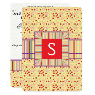 Bright Scattered Strawberry Swirl Pattern Initial Card
