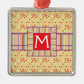 Bright Scattered Strawberry Swirl Pattern Initial Christmas Ornament