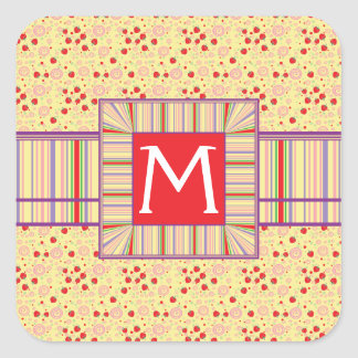Bright Scattered Strawberry Swirl Pattern Initial Square Sticker