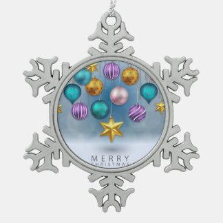 Bright shiny colorfu festive Christmas tree balls Snowflake Pewter Christmas Ornament
