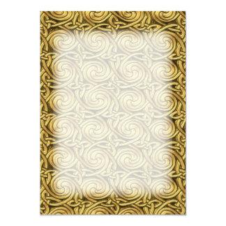 Bright Shiny Golden Celtic Spiral Knots Pattern 13 Cm X 18 Cm Invitation Card