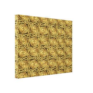 Bright Shiny Golden Celtic Spiral Knots Pattern Canvas Prints