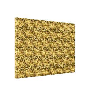 Bright Shiny Golden Celtic Spiral Knots Pattern Stretched Canvas Print