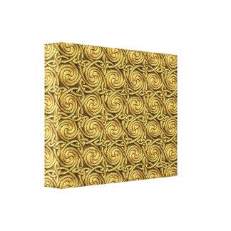 Bright Shiny Golden Celtic Spiral Knots Pattern Gallery Wrap Canvas