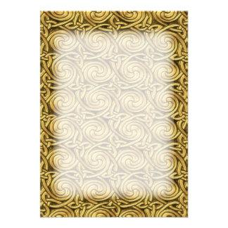 Bright Shiny Golden Celtic Spiral Knots Pattern Custom Invitations