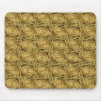 Bright Shiny Golden Celtic Spiral Knots Pattern Mousepads