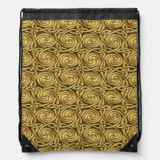 Bright Shiny Golden Celtic Spiral Knots Pattern Drawstring Bag