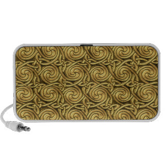 Bright Shiny Golden Celtic Spiral Knots Pattern Portable Speaker