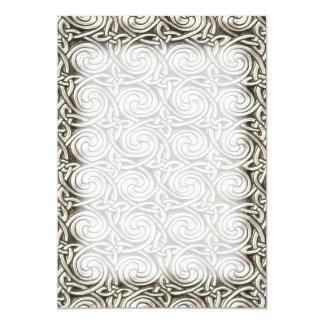 Bright Shiny Silver Celtic Spiral Knots Pattern 13 Cm X 18 Cm Invitation Card