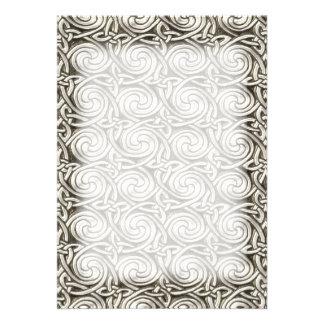 Bright Shiny Silver Celtic Spiral Knots Pattern Custom Invites