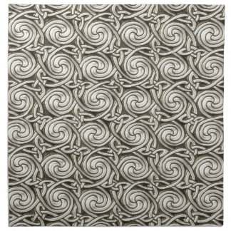 Bright Shiny Silver Celtic Spiral Knots Pattern Napkin