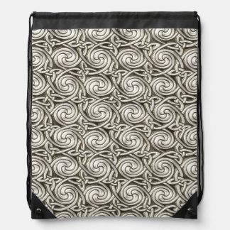 Bright Shiny Silver Celtic Spiral Knots Pattern Drawstring Backpack