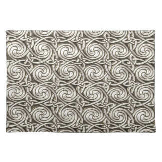 Bright Shiny Silver Celtic Spiral Knots Pattern Placemats