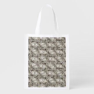 Bright Shiny Silver Celtic Spiral Knots Pattern Reusable Grocery Bags