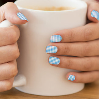 Bright Sky Blue & White Gingham Pattern Minx ® Nail Wraps