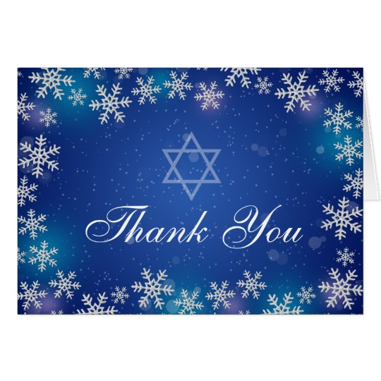 Bright Snowflake Blue Winter Bat Mitzvah Thank You
