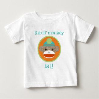 Bright Sock Monkey: First Birthday T Shirts