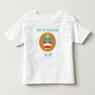 Bright Sock Monkey: Fourth Birthday Tee