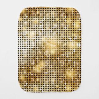 Bright sparkling golden sequin glitters disco ball burp cloth