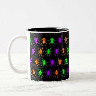 Bright spiders pattern on black Two-Tone coffee mug