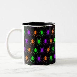 Bright spiders pattern on black Two-Tone coffee mug
