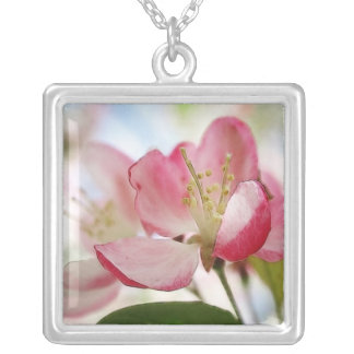 Bright Spring Apple Blossoms Silver Plated Necklace