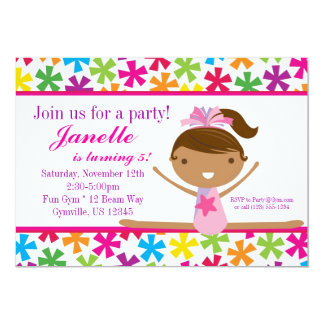 Bright Star Gymnasts Birthday Party Invitation
