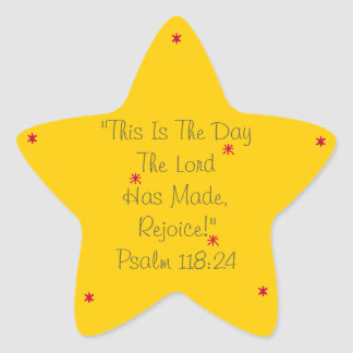Bright star sticker verse This is the day! Rejoice