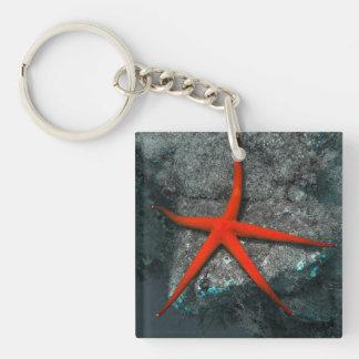 Bright starfish underwater photo keyring