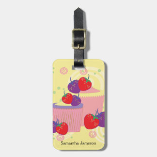 Bright Strawberries And Cupcakes Art With Pattern Luggage Tag