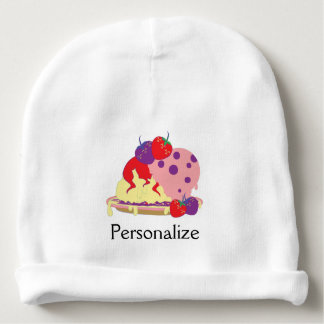 Bright Strawberry Ice Cream Art - Personalize It Baby Beanie