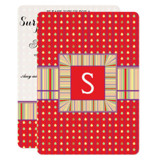 Bright Strawberry Seeds Pattern With Initial Card