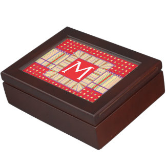 Bright Strawberry Seeds Pattern With Initial Keepsake Box