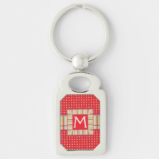 Bright Strawberry Seeds Pattern With Initial Silver-Colored Rectangle Key Ring