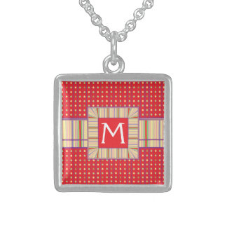 Bright Strawberry Seeds Pattern With Initial Sterling Silver Necklace