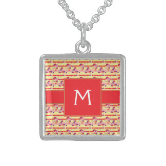 Bright Strawberry Sweet Treats Pattern - Initial Sterling Silver Necklace