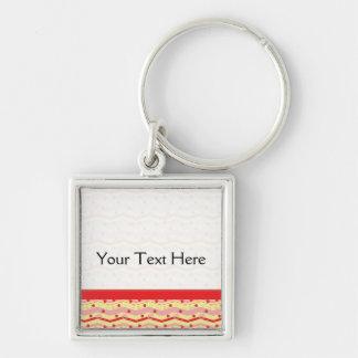 Bright Strawberry Swirl Chevron Pattern - Border Silver-Colored Square Key Ring