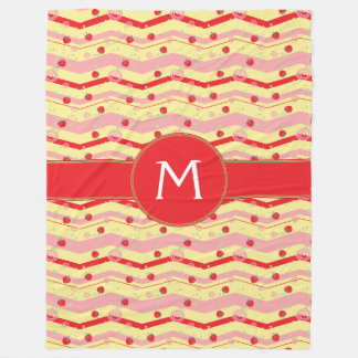 Bright Strawberry Swirl Chevron Pattern - Initial Fleece Blanket