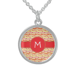 Bright Strawberry Swirl Chevron Pattern - Initial Sterling Silver Necklace