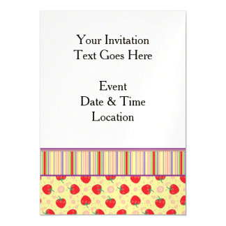 Bright Strawberry Swirl Pattern With Border Magnetic Card