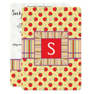 Bright Strawberry Swirl Pattern With Initial Card