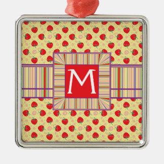Bright Strawberry Swirl Pattern With Initial Christmas Ornament